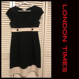 London Times Black and creme dress